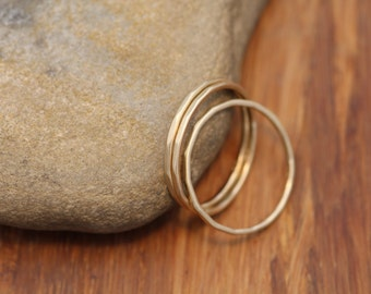 14 kt Solid Yellow Gold 1mm Matte Finish Hammered Texture Stacking Ring(s) - Skinny Rings - Barely There - Gold Midi Rings