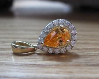 14k Yellow Gold Diamond and Bright Orange Spessartite Garnet Pendant