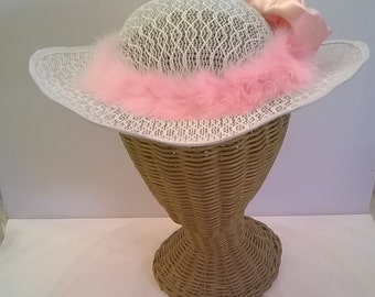 Pink and White Hat with Marabou Feathers and Satin Flower - Wedding, Bridal, Bridesmaid's, Garden Party  Hat