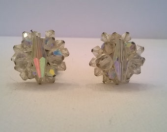 Sparkling Aurora Borealis Clear Crystal Bead Earrings - 1 Inch Diameter - Vintage 1960s AB Clip Earrings