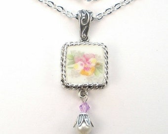 Broken China Necklace Pansy Flower Floral Pendant Vintage Charm Porcelain Jewelry by Charmedware