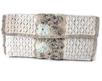ON SALE - Clutch - Crochet Clutch - Handbag - Clutch Purse - Envelope Clutch - White Clutch - Fabric Handbag - Vegan Handbag