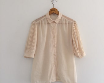 Vintage 80's Cream Pleated Sleeve Blouse / Accordion Pleats Button Up M