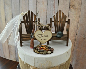 Hunting gun riffle wedding cake topper camping bride and groom camp fire wood the hunt is over wood sign Adirondack chairs hunting groom