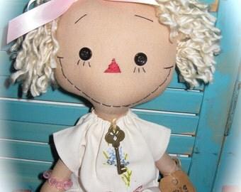 Primitive Annie Ann Raggedy Doll in Vintage Embroidered Dress OOAK