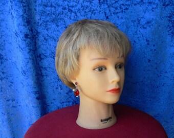 red dangle rhinestone earrings