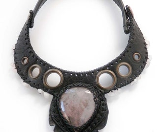 PARADOX⎜Black leather necklace with natural pink quartz⎜Leather jewelry⎜Burning man jewelry⎜Statement necklace