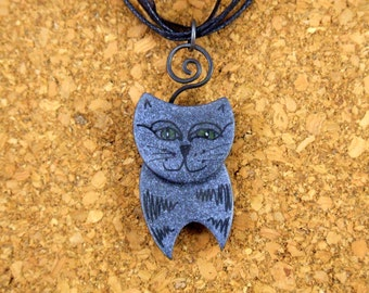 Black Cat Polymer Clay Necklace