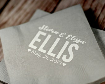 Custom Napkins Wedding Personalized Favors Cocktail