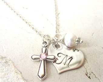 Girl's First Communion Gift.Children's Birthstone Cross Necklace.Girl's Heart Initial & Pearl Charm Necklace.Baptism Gift.Birthstone Jewelry