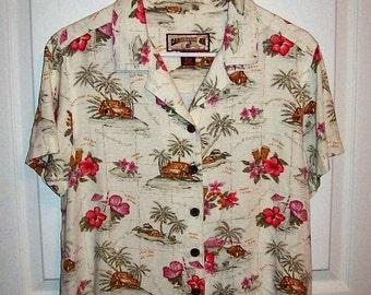 Vintage Ladies Tropical Print Shirt by Caribbean Joe Medium Only 7 USD