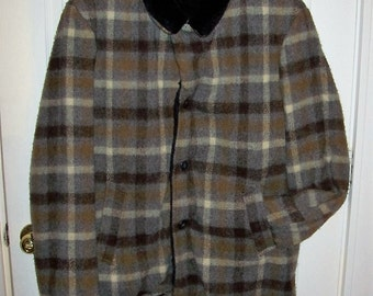 Vintage 1960s Mens Plaid Wool Coat by Country Wear npc Size 46 Only 35 USD