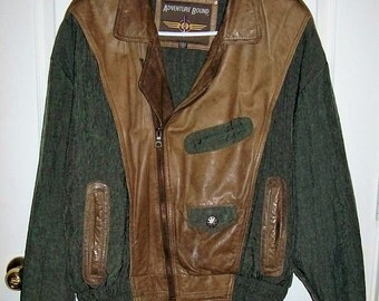 Vintage Men's Green & Brown Distressed Leather Bomber Jacket Adventure Bound by Wilson's Small Only 16 USD