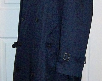Vintage Men's Navy Blue Double Breasted Lined Overcoat by Stafford Size 40 R Only 16 USD