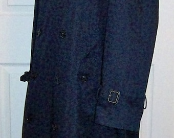 Vintage Men's Navy Blue Double Breasted Lined Overcoat by Stafford Size 40 R Only 8 USD