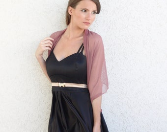 Plus Size Dust Rose Shrug, Evening Cover Up,  Pink Loop Shawl With 4 Wearing Options- Shawl, Shrug, Crisscross And Infinity Scarf CF113