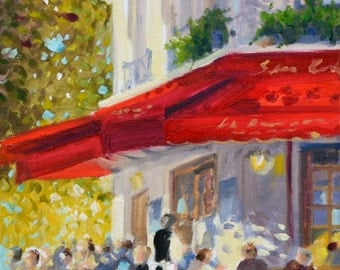 PARISIAN CAFE Art Print of Original Oil Painting, French street scene