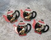 Set of 4 Rooster Teapot Shaped Teabag Holders MINT Bella Cassa Gantz