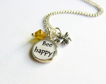 Bee Charm Necklace, Bee Happy Cluster Necklace, Bumble Bee Necklace, Honey Bee Necklace, College Student Gift, University Gift