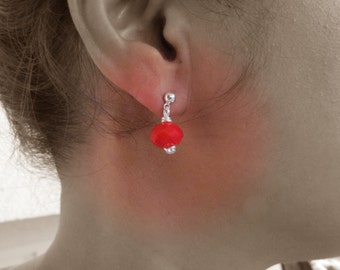 Red Crystal Earrings. Silver Ball Stud Earrings with Red Crystal Dangle. Dangle Post Stud. Everyday Earrings. Simple Jewelry Gift For Her.