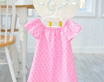 Toddler Girl Pink Cotton Dress, Lace Dress, 24M/2T READY to SHIP, Rose and Ruffle