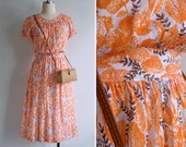 Vintage 80's Orange Leaves Gathered High Waist Dress XS or S