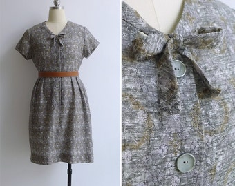 Vintage 60's Moss Green 'Doily Lace' Ribbon Bow Collar Dress M or L