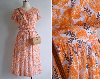 Vintage 80's Orange Leaves Gathered High Waist Dress XS or S