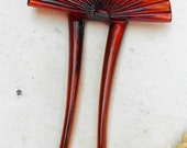 """Celluloid Tortoise Colors Victorian Hair Comb Pic.  Art Deco   Only 19.90 4"""" Tall by 2 1/2""""."""