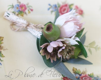 Sloan - Men's Buttonhole / Boutonniere - rustic, country garden style buttonhole, palest pink blushing bride, mauve astrantia, gumnuts