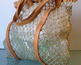Vintage Fish Net Tote Bag With Leather Accents