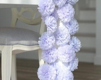 "set od 60 Mini size 6"" /15cm pompoms with ribbon  - napkin rings - table decorations"