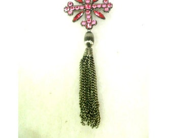Vintage  Pink Rhinestone Cross Pin/Brooch with Silver Tassel - No. 1658
