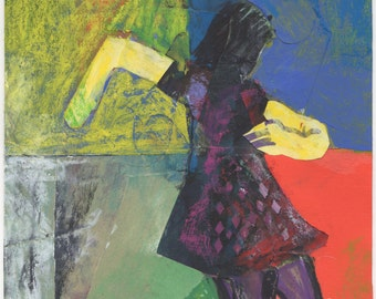 "Original Mixed Media - ""Girl with Sharp Movement"" by Peter Mack"