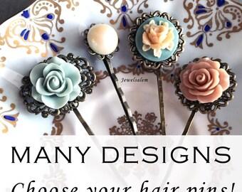 Flower Hair Pins Wedding Bobby Pins Bridal Shower Gift Floral Hair Pins Set Bridesmaids Hair Pins