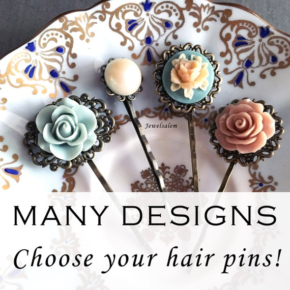 Flower Hair Pins Wedding Bobby Pins Bridal Shower Gift Floral Hair Pins Set Bridesmaids Hair Pins