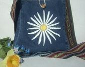 Crossbody Bag - White Daisy Flower Hand-Painted Purse - Hippie Upcycled Medium Jean Denim Handbag