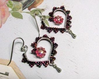 Wire Heart Earrings, Seed Bead Heart Earrings, Pink Heart Earrings, Valentine Earrings, Holiday Earrings, Heart Jewelry, Valentine Jewelry