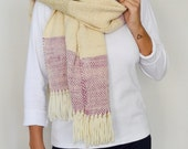 Pashmina shawl wrap with fringes, Natural dyed Pastel striped handwoven shawl, Organic clothing by texturable