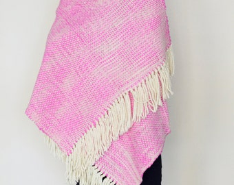 Neon pink soft wool sweater blanket wrap, Pashmina shawl wrap, Women wool handwoven scarf, Christmas gifts for woman