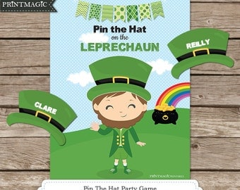 Pin the Hat on the Leprechaun Printable Party Game - 3 Sizes Included - St Patrick's Day Game - St Patricks Day Game - Children's Game