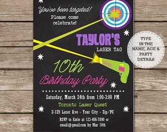 Laser Tag Party Invitation - Laser Tag Birthday Party Invitation - Laser Tag Invitation- Download & Personalize at home in Adobe Reader