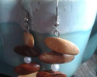 Wood & Pearl Dangle Earrings