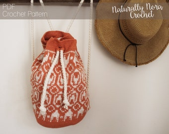 Crochet Pattern: The Kaia Backpack; Adult and Child Sizes; tapestry, aztec, tribal, summer, cotton, knapsack, purse, mini-backpack