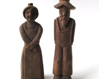 Antique Primitive Farmer Couple, American Folk Art Wood Carvings, AAFA
