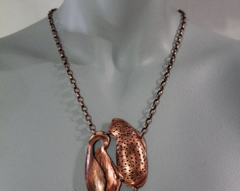 Textured Organic Die Formed Copper Necklace