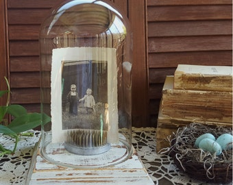 Glass Cloche, Vintage Glass Dome Display with Distressed Wood Base,  French Country Decor, Cottage Chic, Shabby, Rustic Decor