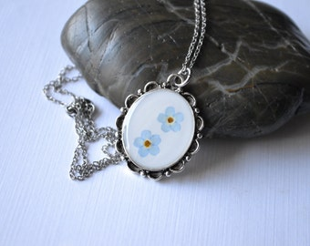Antique Style Silver Real Pressed Forget Me Not Flowers Eco Resin Pendant