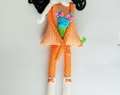 New '''' , Annie , soft doll,  handmade rag doll, wearing  beret ,scarf ,socks and has a soft dog ,  ready to ship,stuffed doll