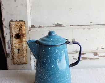 Vintage Porcelain Enamel Blue Speckled Coffee Tea Pot